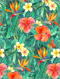 Micklyn Le Feuvre - classic tropical garden watercolor pattern