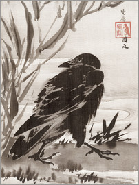 Kawanabe Kyosai - Crow and Reeds by a Stream