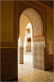 Guy Thouvenin - Large patio columns with azulejos decor, Islamo-Andalucian art, Marrakech Museum, Marrakech, Morocco