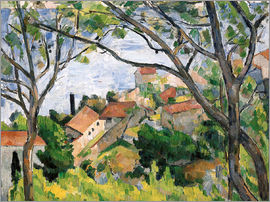 Paul Cézanne - L'Estaque durch die Bäume