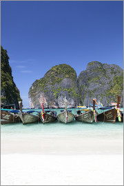 Harry Marx - Longtail boats at the Beach, Maya Bay at Koh Phi Phi Leh, Andaman Sea