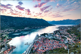Matt Parry - Looking over the Old Town of Kotor and across the Bay of Kotor viewed from the fortress at sunset, U