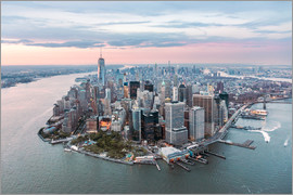 Matteo Colombo - Aerial view of lower Manhattan with One World Trade Center at sunset, New York city, USA