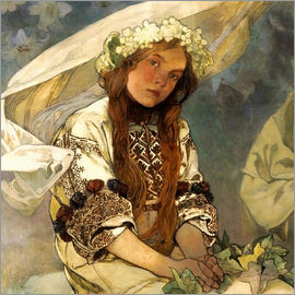 Alfons Mucha - Madonna of the Lilies, Detail
