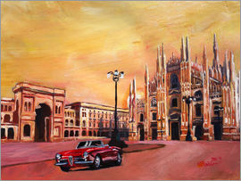 M. Bleichner - Milan Cathedral with Oldtimer Convertible Alfa Romeo
