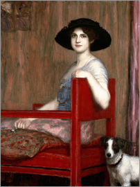 Franz von Stuck - Mary von Stuck in rotem Sessel