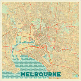 Hubert Roguski - Melbourne Karte Retro