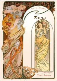 Alfons Mucha - Moet & Chandon Menu orange
