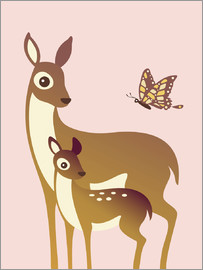 Ashley Verkamp - MomAndBabyDeerWithButterfly