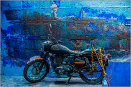 Laura Grier - Motorcycle parked on the street of Jodhpur, the Blue City, Rajasthan, India, Asia