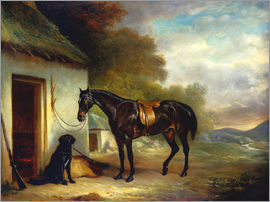 John E. Ferneley - Mr. Stuart's Favourite Hunter, Vagabond' and his Flatcoated Retriever, Nell, by a Cottage Door, 1867