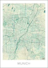 Hubert Roguski - Munich Map Blue
