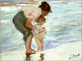 Joaquin Sorolla y Bastida - Mutter und Kind am Strand