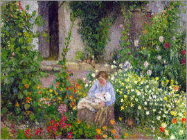 Camille Pissarro - Mutter und Kind in den Blumen