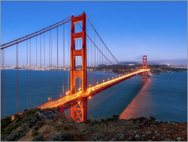 Jan Christopher Becke - Nachtaufnahme der Golden Gate Bridge in San Francisco Kalifornien, USA