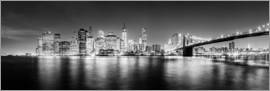 newfrontiers photography - New York Skyline by night (schwarz weiß)