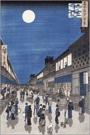 Utagawa Hiroshige - Night time view of Saruwaka Street