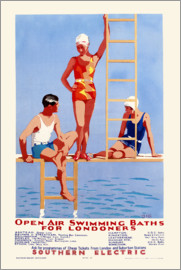 English School - 'Open Air Swimming Baths for Londoners', poster advertising Southern Electric Railways, 1932