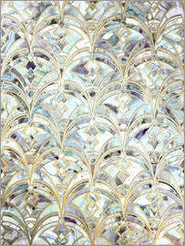 Micklyn Le Feuvre - Pale Bright Mint and Sage Art Deco Marbling