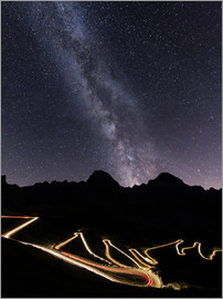 Roberto Moiola - Panorama of the Milky Way and lights at Stelvio Pass