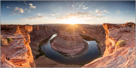Matteo Colombo - Panorama von Horseshoe Bend auf dem Fluss Colorado bei Sonnenuntergang, Arizona, USA