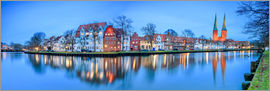 Roberto Sysa Moiola - Panoramic of Lubeck reflected in river Trave, Germany
