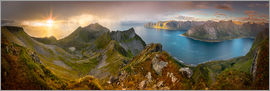 Markus Ulrich - Panoramic View from Husfjellet Mountain on Senja Island during Sunset, Noway