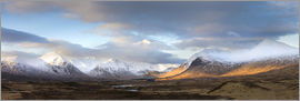 Lee Frost - Panoramic view across Rannoch Moor on clear winter morning towards the snow-covered mountains of the