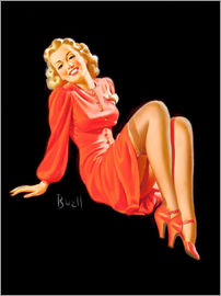 Al Buell - Pin Up - Lady im roten Kleid