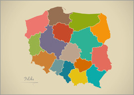 Ingo Menhard - Polen Landkarte Modern Map Artwork Design
