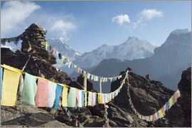 Christian Kober - Prayer flags, view from Gokyo Ri, 5483m, Gokyo, Solu Khumbu Everest Region, Sagarmatha National Park