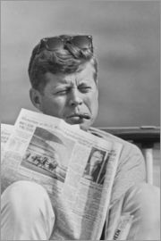 John Parrot - President John F. Kennedy smoking a cigar and reading the newspaper.