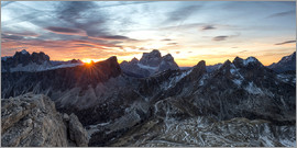 Click Alps - Ra Gusela, Dolomites, Veneto, Italy, Sunrise photographed from the summit of The Ra Gusela