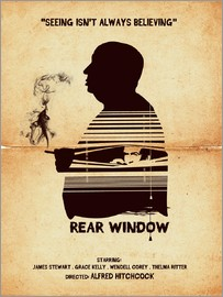 Golden Planet Prints - Rear window movie inspired hitchcock silhouette art
