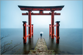 Jan Christopher Becke - Rotes Tor beim Hakone Shinto Schrein in Japan