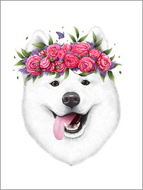 Valeriya Korenkova - Samoyed with flowers
