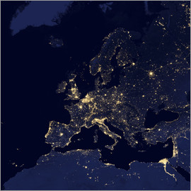 Satellite view of city lights in several European and Nordic cities.