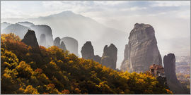 Reynold Mainse - Rugged cliffs and a monastery, Meteora, Greece