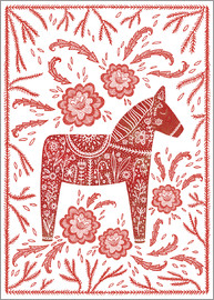 Nic Squirrell - Swedish Dala Horse Folk Art