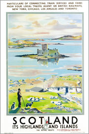 Scottish School - Scotland, Kishmul Castle Isle of Barra, poster advertising British Railways, 1952