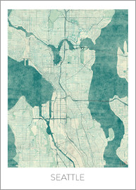 Hubert Roguski - Seattle Map Blue