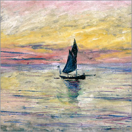 Claude Monet - Segelboot am Abend