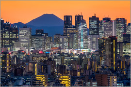 Jan Christopher Becke - Shinjuku city view at night with Mount Fuji in the background