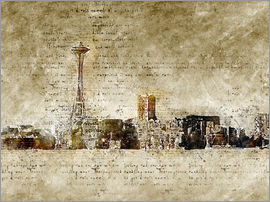 Michael artefacti - Seattle skyline in modern abstract vintage look