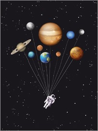 Golden Planet Prints - Space traveller solar system ballons art
