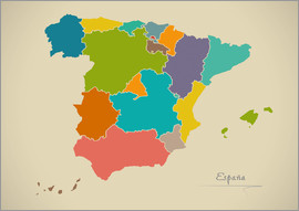 Ingo Menhard - Spanien Landkarte Modern Map Artwork Design