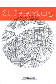 campus graphics - St Petersburg map city black and white