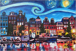 M. Bleichner - Starry Night over Amsterdam Canal with Van Gogh Inspirations