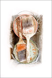 Image Source - Still life of paint brushes and cans
