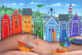Peter Adderley - Beach hut rainbow scene